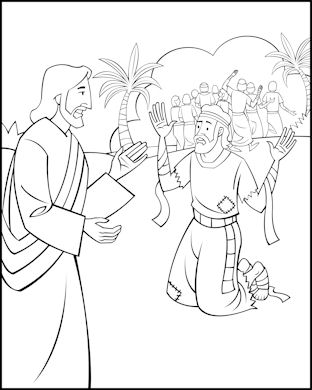 Sunday School Coloring Page Jesus And The Ten Lepers