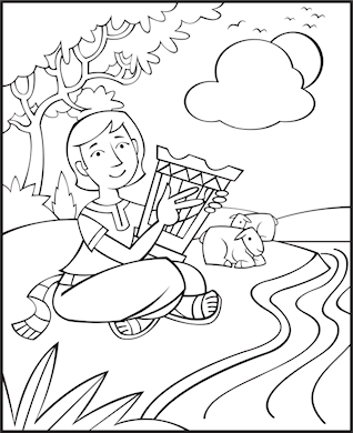 Free Bible Coloring Pages - David The Good Shepherd
