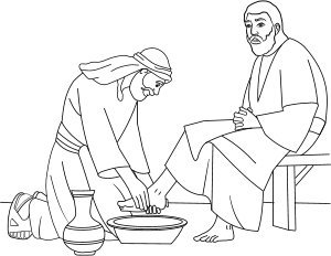 Jesus Washes the Disciples Feet Coloring Page | Ministry-To-Children | 232x300
