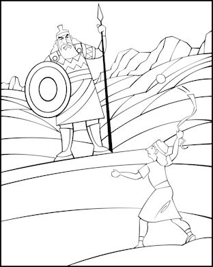David And Goliath Coloring Pages Interesting Sunday School Coloring Page  David And Goliath Design Decoration
