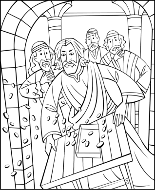 Free Sunday School Coloring Pages - Jesus Cleansing The Temple