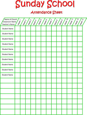 This is a graphic of Universal Printable Attendance Chart